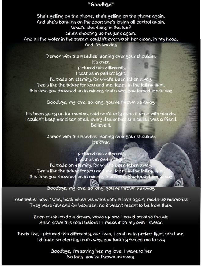 """Lyrics for """"Goodbye"""", by  the band My Darkest Days."""