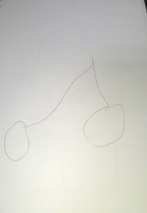 C's drawing of cherries (unassisted)