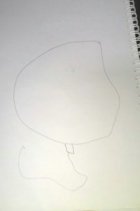 C's drawing of a balloon (unassisted)